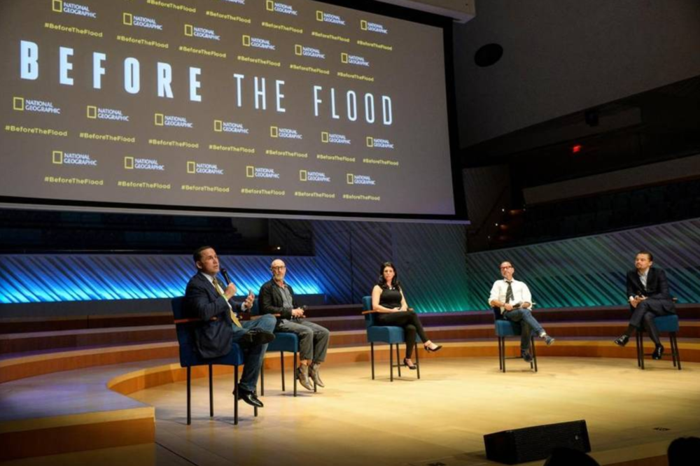 "Panel discussion following the screening of ""Before The Flood"" in the performance hall at the New World Center in Miami Beach"