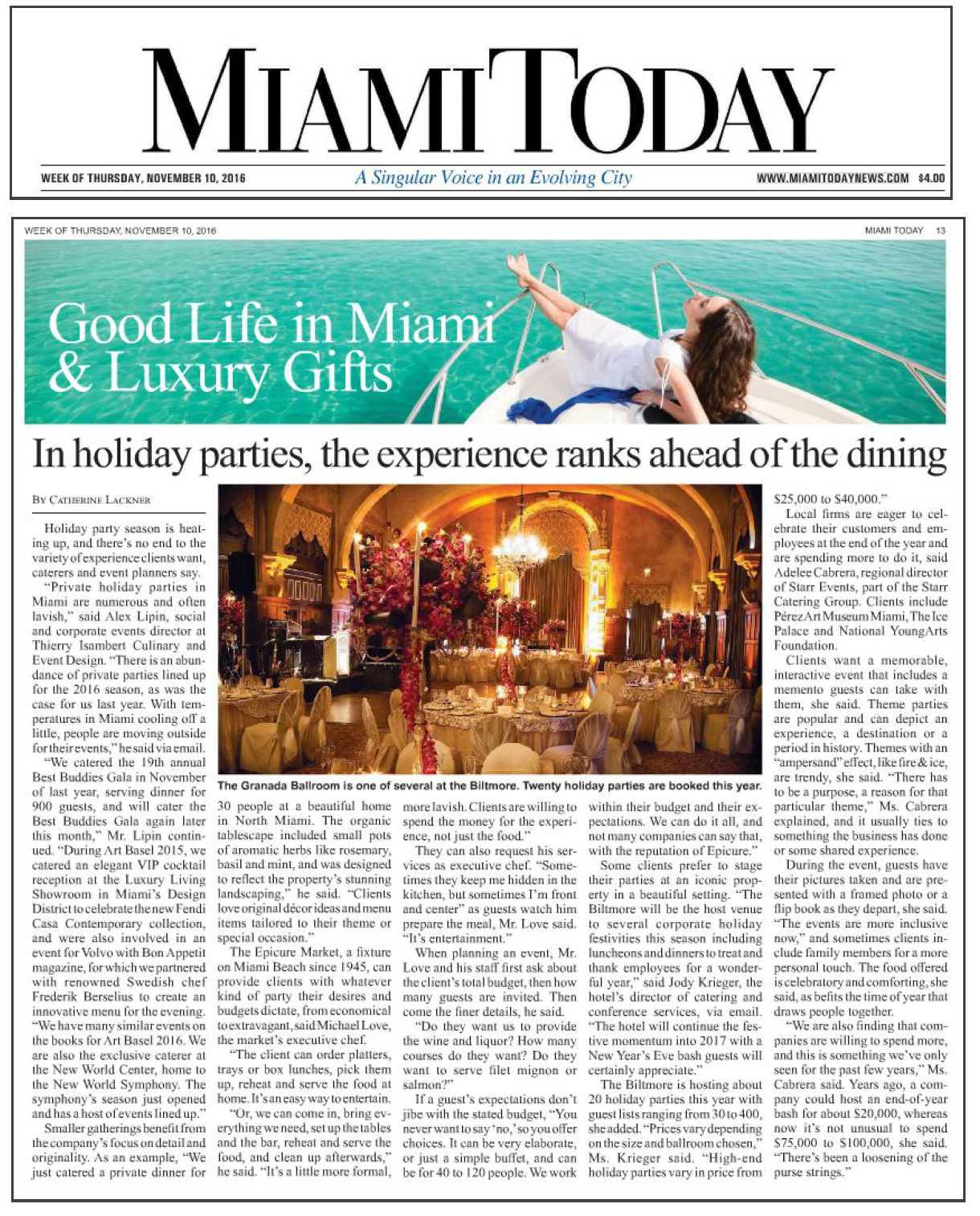 MIAMI TODAY — Thierry Isambert Culinary & Event Design