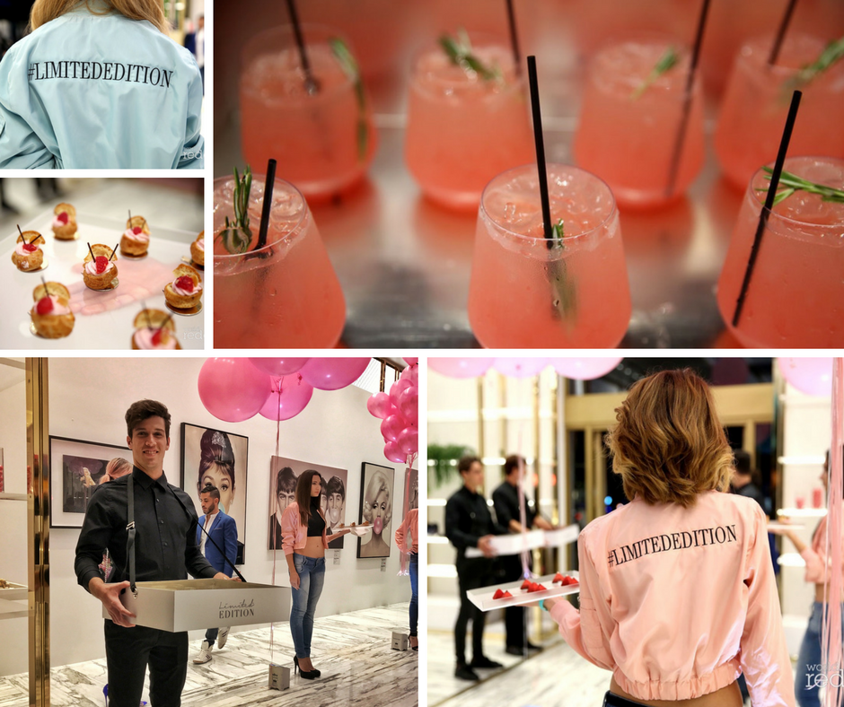 Signature Cocktails like our Watermelon Coolers, and sweet bites such as Raspberry Lemongrass Emulsion Choux and Lychee Mousse with Raspberry Gelee were passed by models who were dressed to coordinate with the artist's color palette. (Photos: World Redeye)
