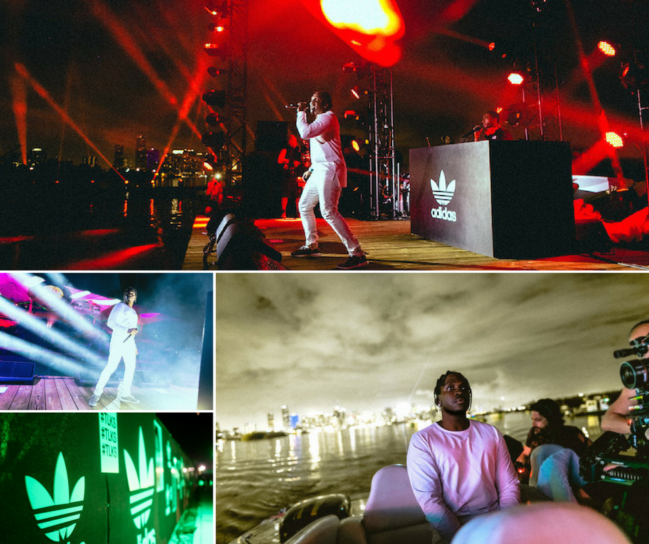 Miami's iconic Marine Stadium in Key Biscayne was the setting for the Adidas Originals celebration of their EQT line. The evening's lineup included creative conversation, art and a performance by Pusha T who made his grand entrance to the waterfront stage in a speedboat.