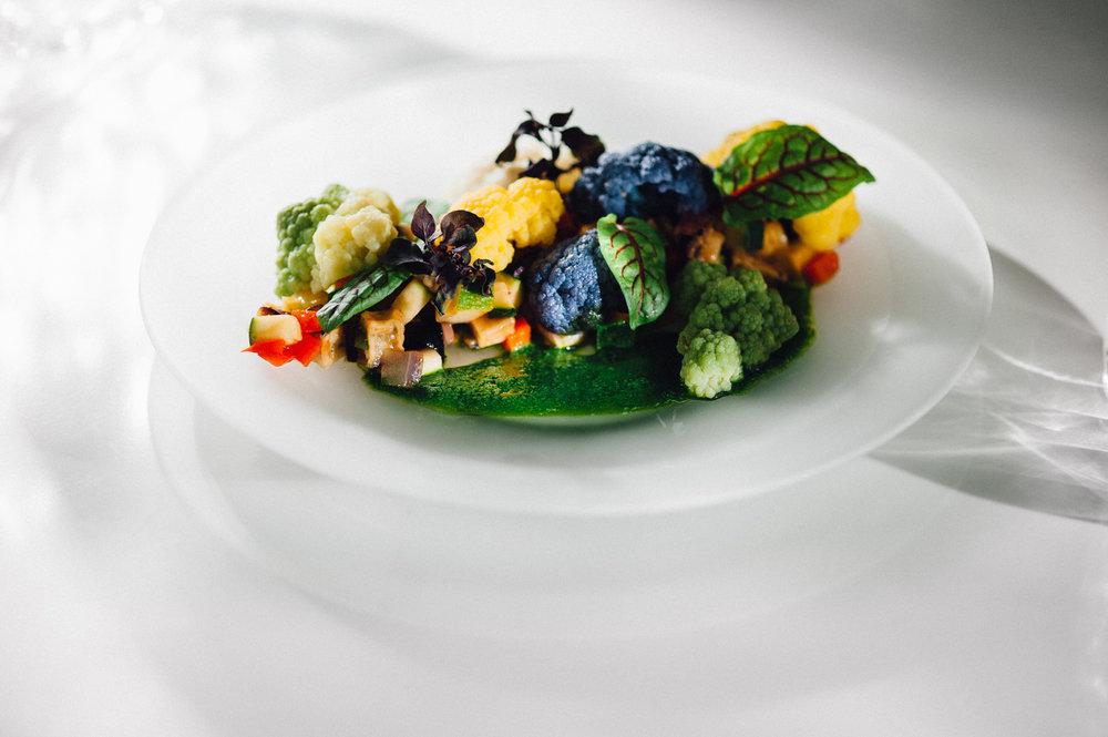Thierry Isambert's Rainbow Cauliflower Trilogy with Garden vegetable Caponata in San Manza Tomato Stew & Light Herb Chlorophyl [Photo: Eric Monteiro]