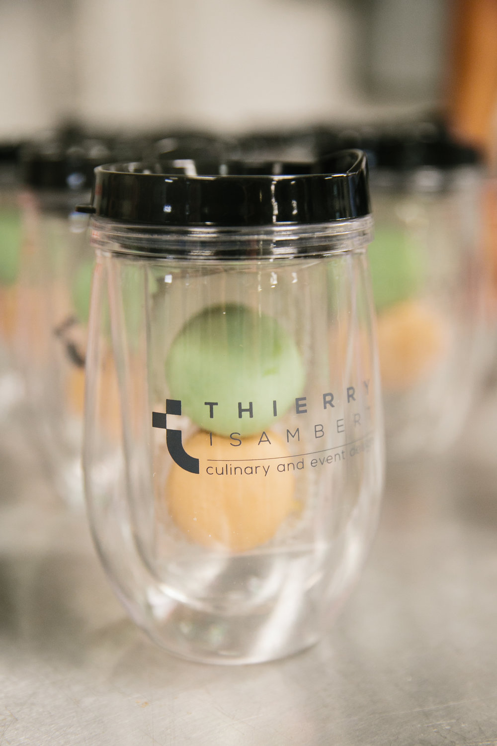 Party Favors from Thierry Isambert - Hot / Cold tumblers (BPA free)  and Macarons