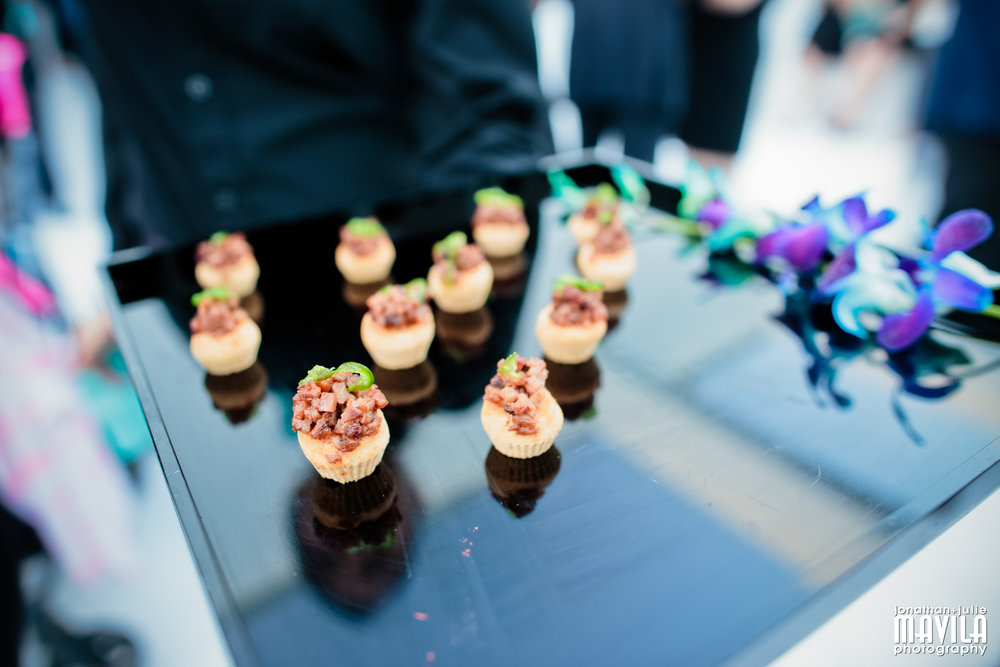 Passed hors d'oeuvres for the adults - assortment of canapés.