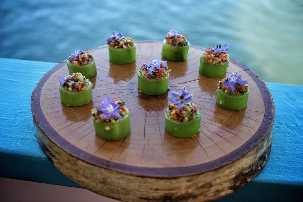 - Veggie Tartar in Cucumber Cup with a Micro Flower