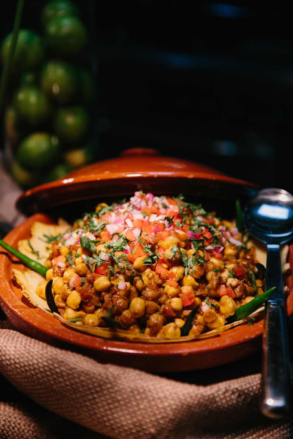 Channa Masala - Chickpeas & Tomatoes with Garlic, Ginger, Onion, Chiles & Traditional Indian Spices like Cumin, Garam Masala, Coriander, and Turmeric.