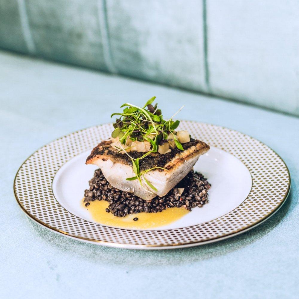 FISH OPTION: BARRAMUNDI with Beluga Lentils, Granny Smith Puree & Ginger Asian Pear Chutney