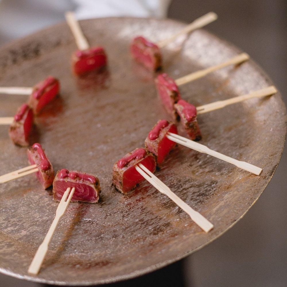 Coriander Dusted Saku Tuna & Raspberry Rhubarb Gel