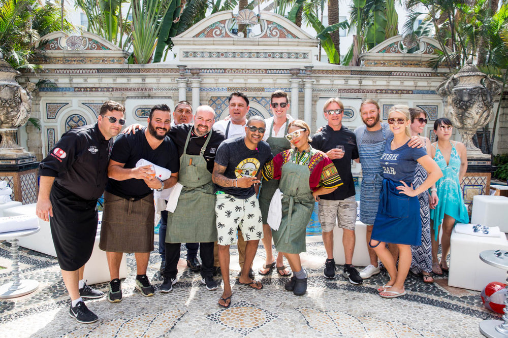 Chef JJ  with featured chefs:  Jose Mendin  (Food Comma Hospitality,)  Sean Brasel  (Meat Market, Miami,)  Chris Coombs  (Boston Urban Hospitality,)  Martin Monteverde  (1111 Peruvian Bistro,)  Amaris Jones  (Celebrity Chef / Caterer,) and  Janine Booth  (Stiltsville Fish bar, Miami.)