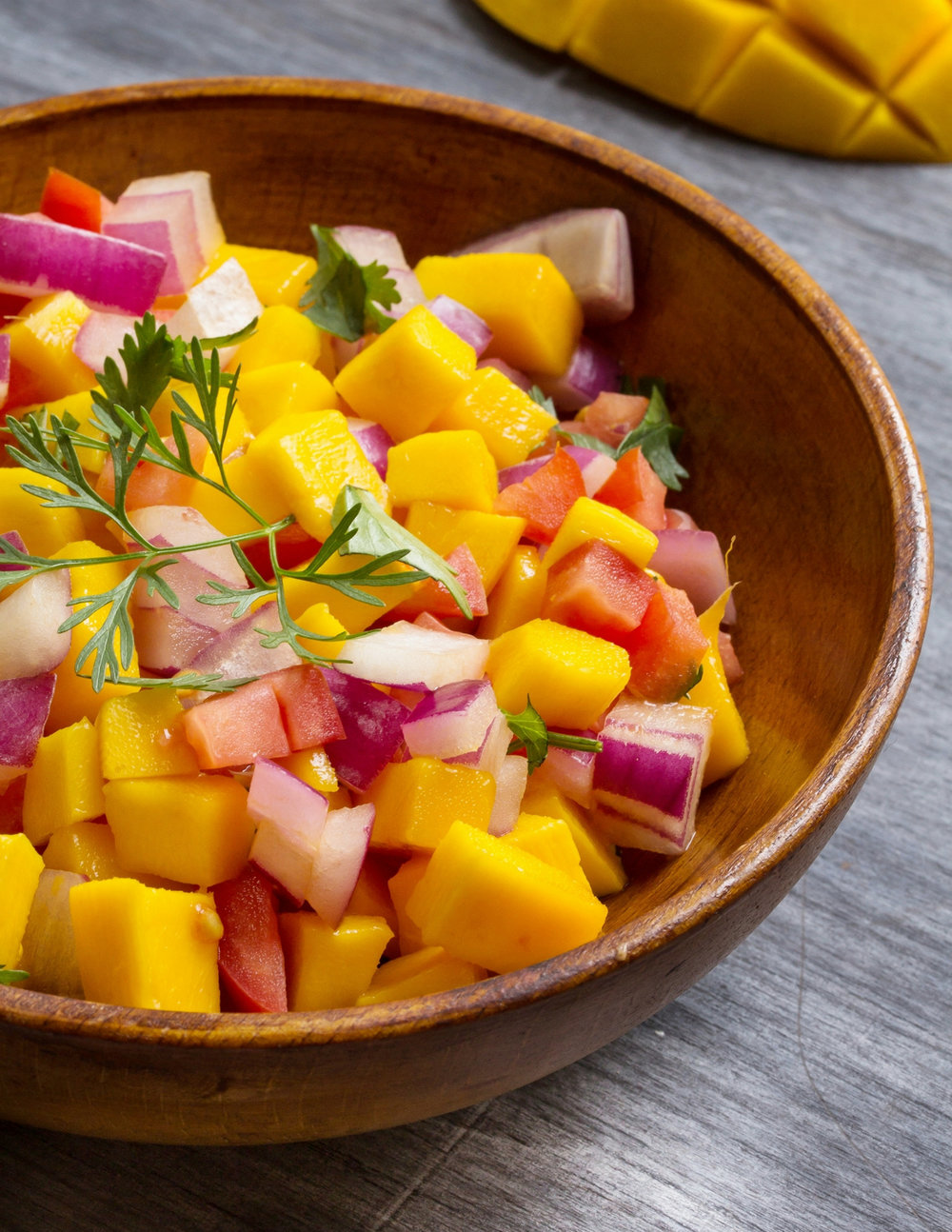 Mango Papaya Salsa - 1 Mango, cubed - 1/2″ chunks1 Papaya, seeded & cubed - 1/2″ chunks1/2 Medium red onion -  finely chopped1 Medium jalapeno, seeds removed &  chopped1 Bunch of cilantro - leaves only - finely chopped1 lime - Juicedsalt & pepper to tasteSimply stir ingredients in a medium bowl and serve with grilled fish (or use as a dip.)