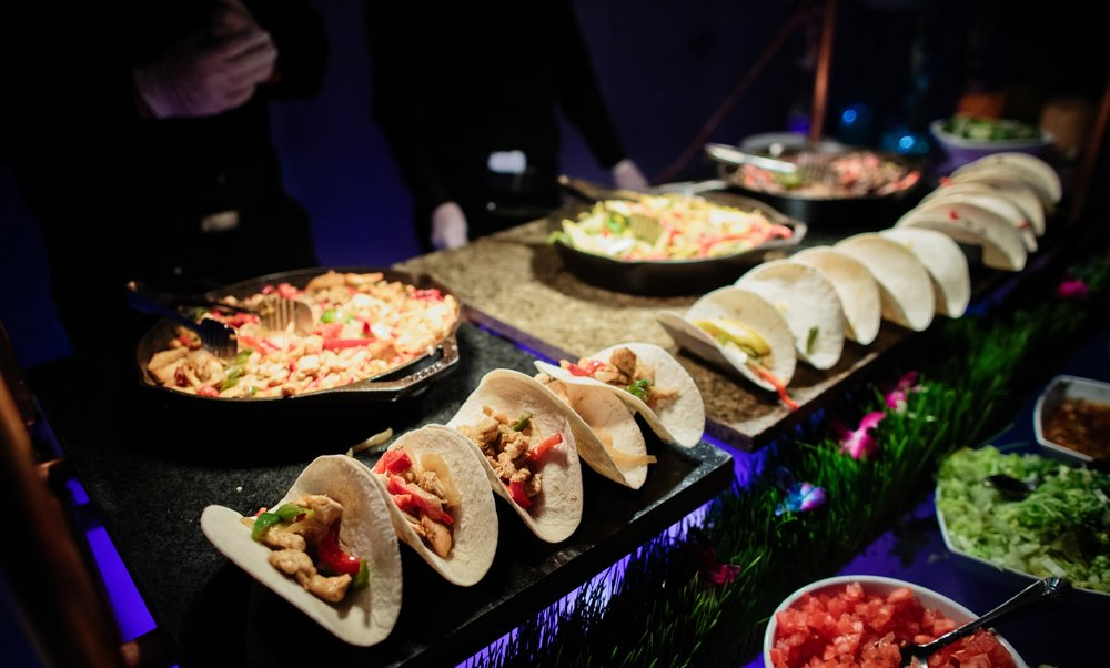 Food stations offering a customized gourmet experience for events