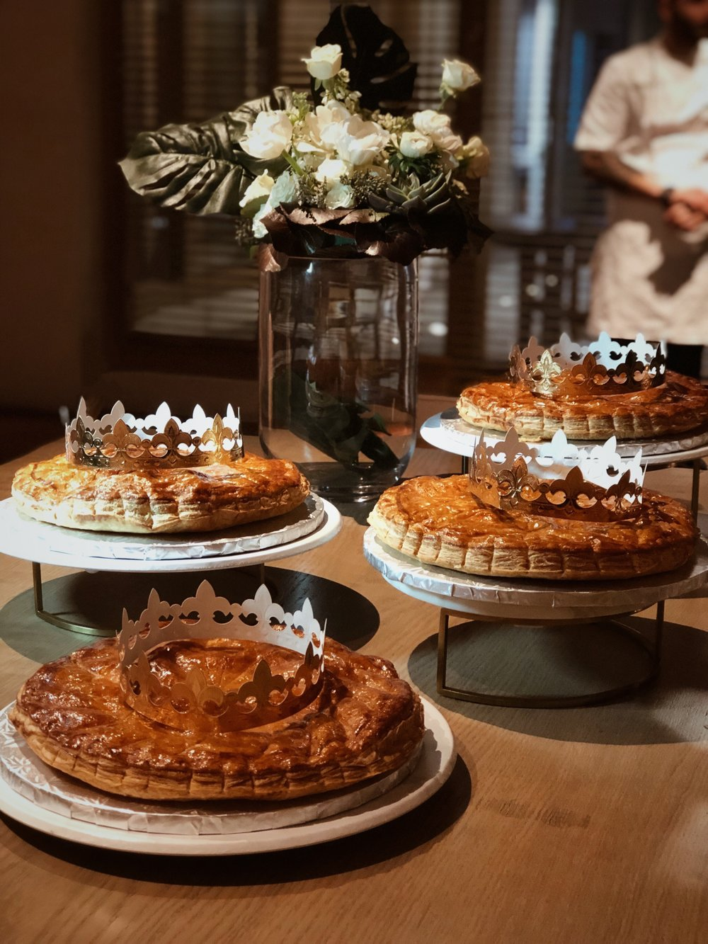 """Thierry Isambert's house-made """"Galettes des Rois"""" at an event organized in Miami by the  French American Chamber of Commerce"""