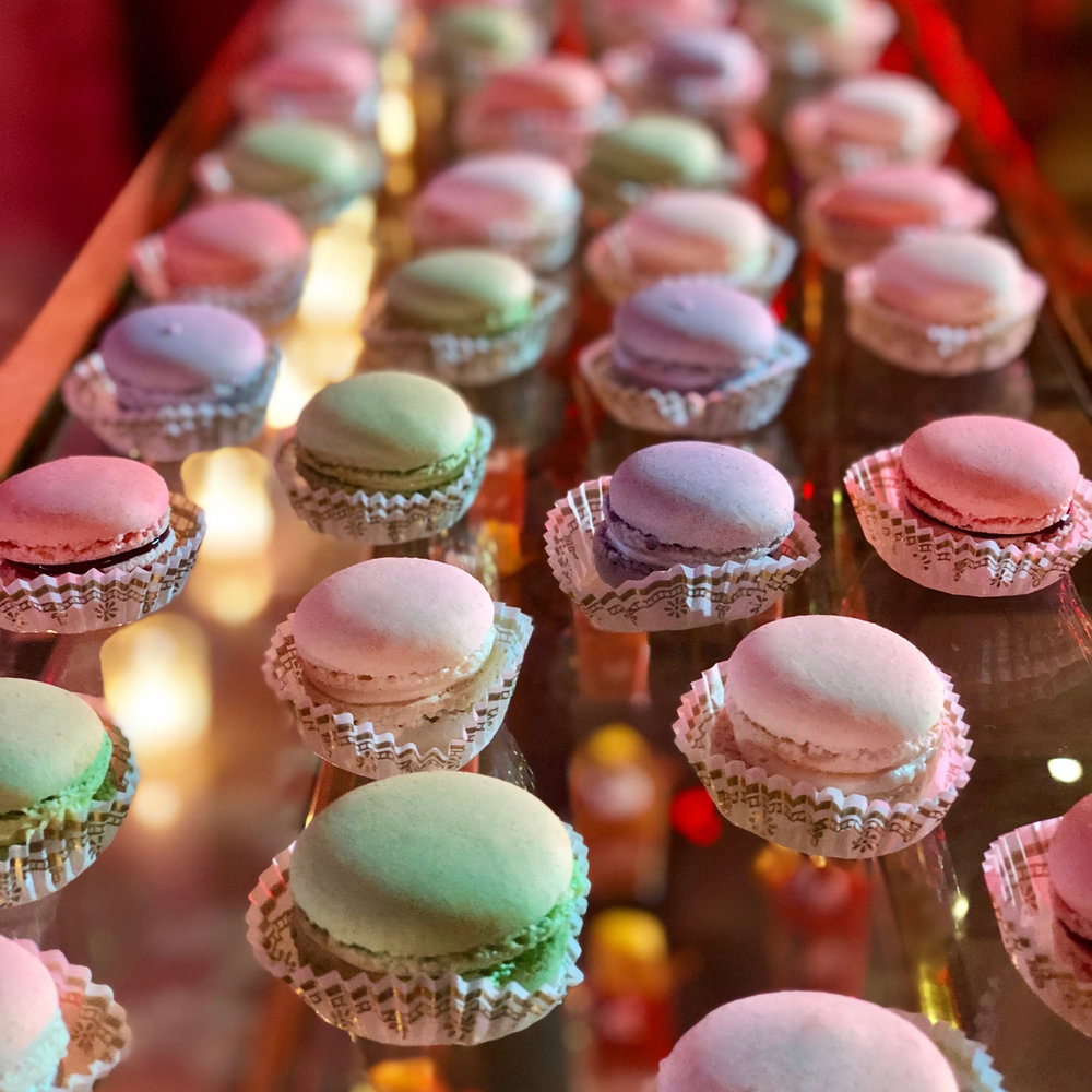 Thierry Isambert's Macarons on a late night wedding dessert table.