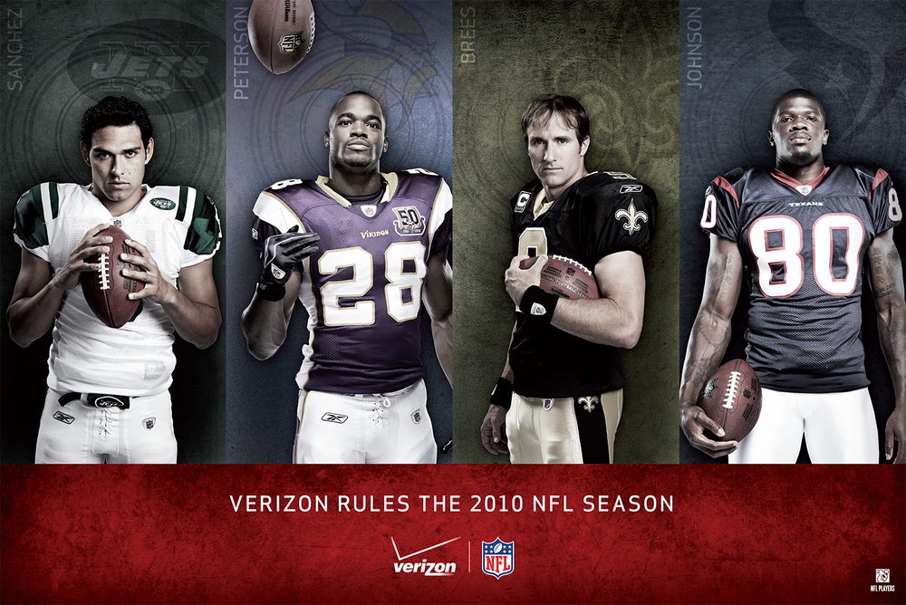 Highlighting four of the top NFL players of the 2010 NFL season, this poster was created as a limited edition photographic emulsion print on pearlized paper, signed by the players, matted and framed for the top ten executives of Verizon to commemorate their new partnership with the NFL.