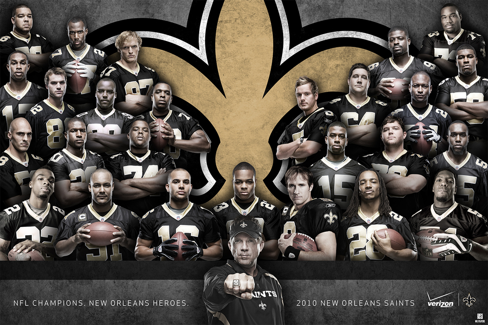 This exclusive Saints team poster was given to fans in 2010 at the Champions Square pep rally led by Sean Peyton and Drew Brees and sponsored by Verizon.