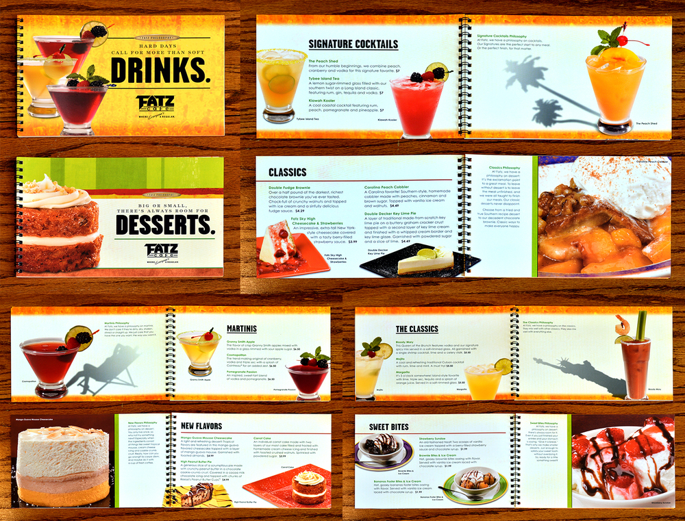 This is a front and back Drink and Desserts menu. The shadows on the hero drinks are fun interpretations of where each drink can take you.