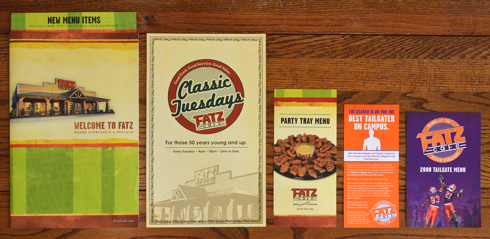 This is a sampling of the many menus created for Fatz Cafe.