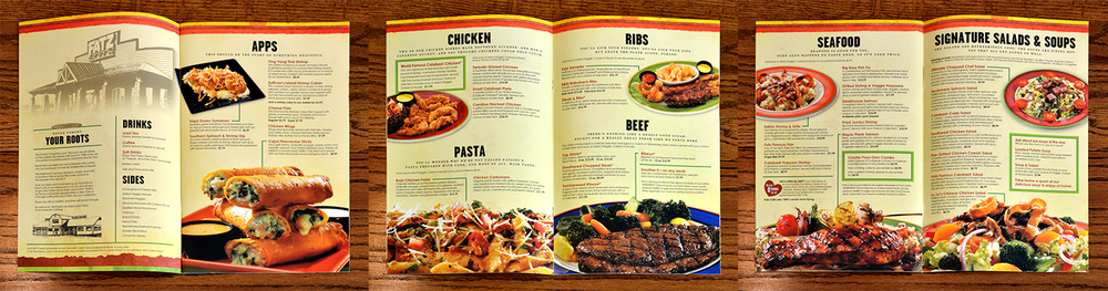 This shows the inside of the main menu. We worked with a professional photographer and food stylist to achieve food imagery that had mouth-watering crave appeal, while looking real and not overly styled.