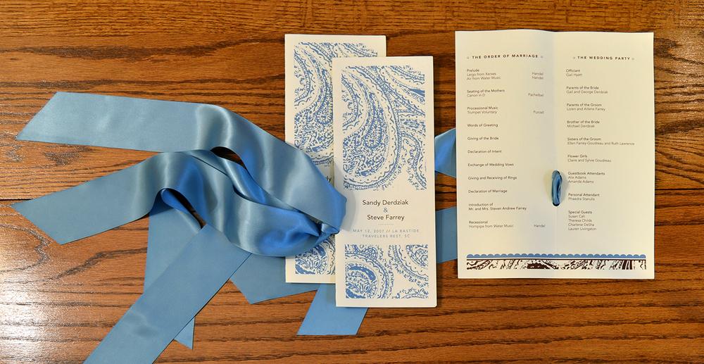 Wedding program for the Farrey's.