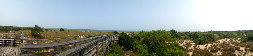 This is a panoramic shot walking on the boardwalk from our campsite to the beach.