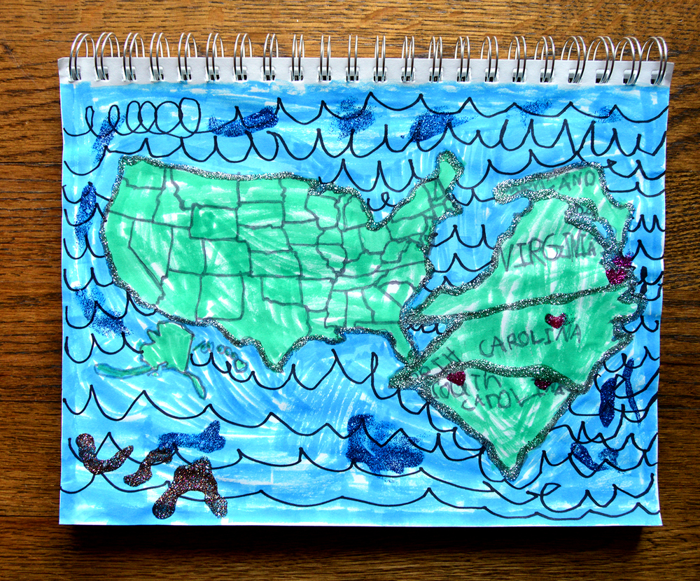 My daughter Addie's artwork of where we've been so far this summer.