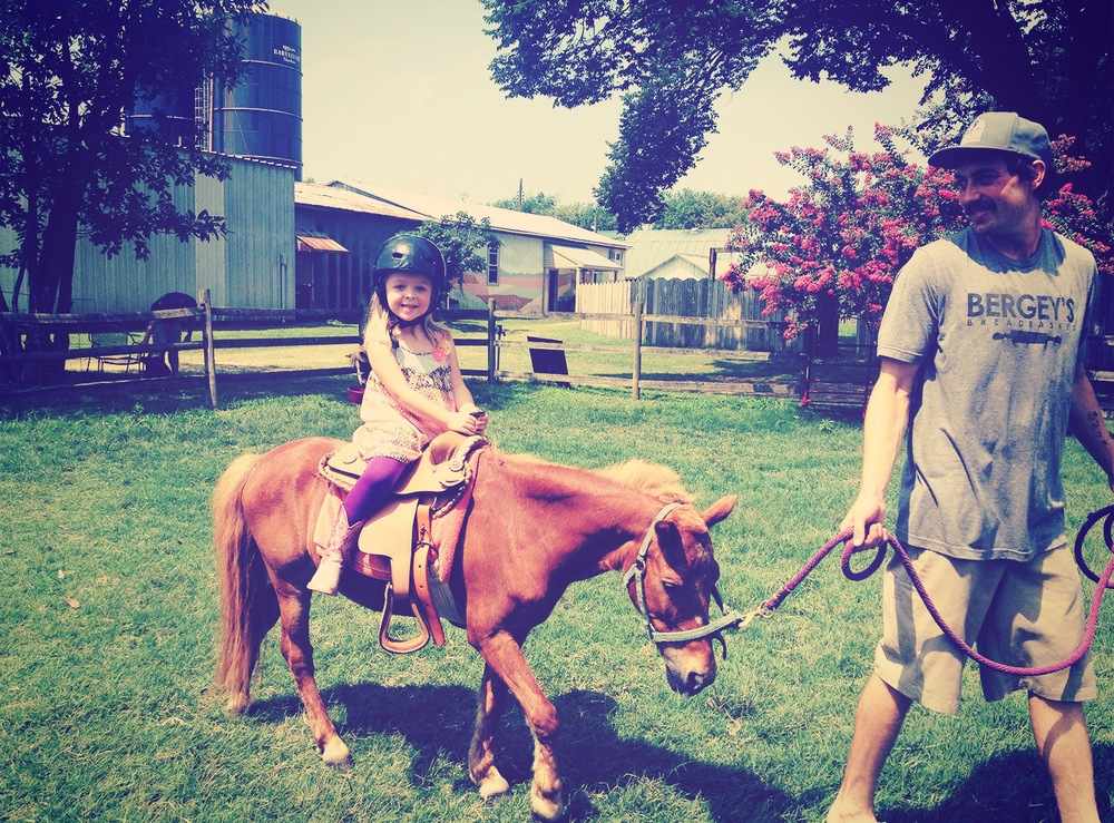 Addie and I were invited to one of my best childhood friends daughter's birthday party. It was at Bergey's Dairy and Addie got to ride a pony. She had a great time, as did I. Their quiche, pastries and ice cream are to die for.