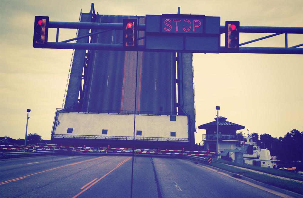 On the way to the DMV, we caught the bridge, the Great Bridge bridge. Foreshadowing perhaps?