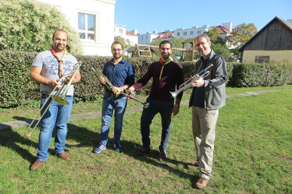 Delivering brass instruments to the Mor Ephrem Brassband in Vienna