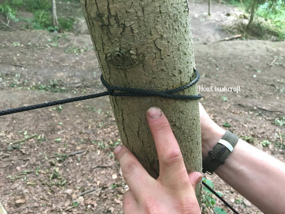 Here's the secret     - As you pull tight and go back around the tree, cross the lines. This bites the line in place and reduces the amount of 'pull' you will feel from the tension, making it easier to tie the knot.