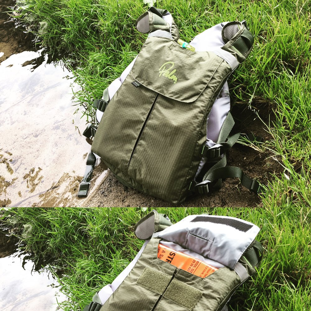 The Palm Hydro Adventure - The large rear pocket is an excellent feature of this PFD, during a day trip it'll hold a water bladder and some snacks.For me I'll be storing a Survival Bivi Bag in there, nice and flat so I can still portage with it on.