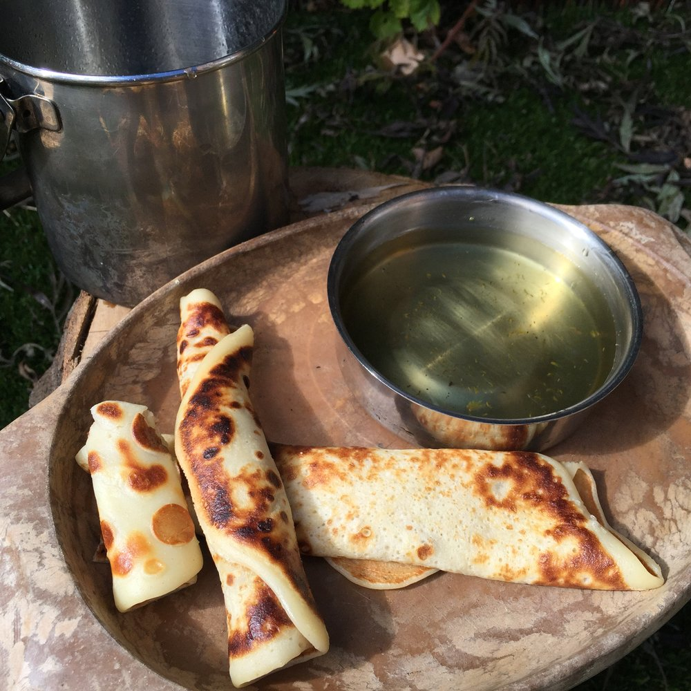 pineapple weed syrup and pancakes