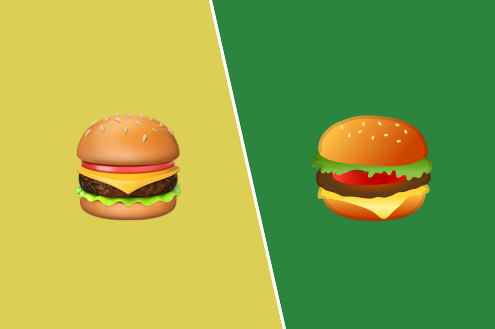 Google and Apple's cheeseburger emoji comparison