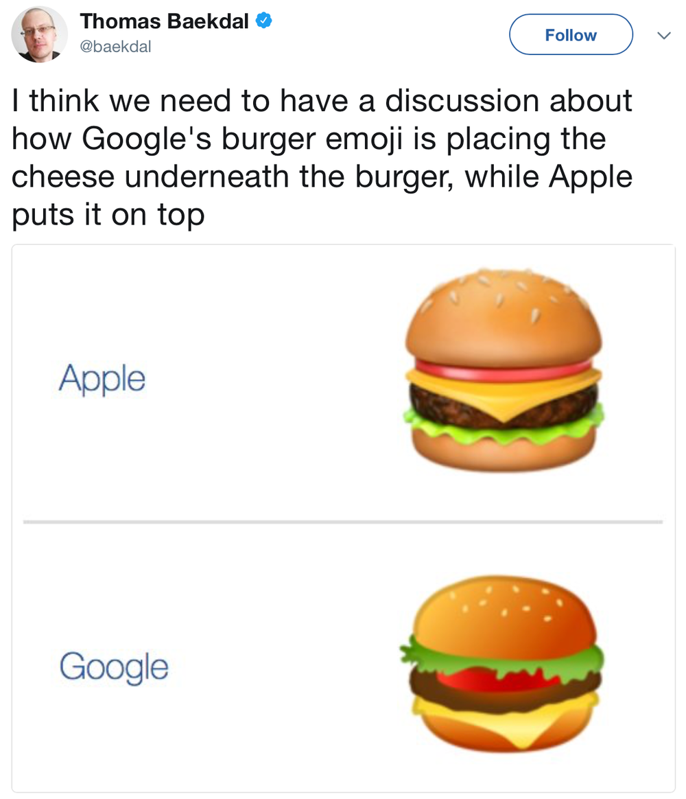 A comparison of Google and Apple's cheeseburger emojis
