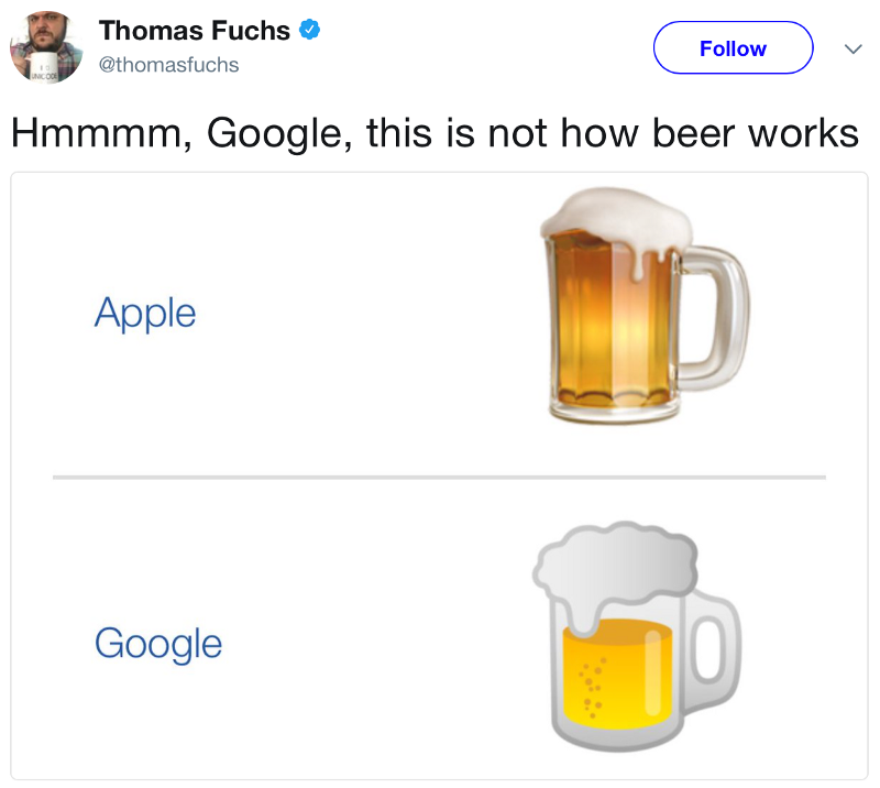 A comparison of Google and Apple's beer emoji