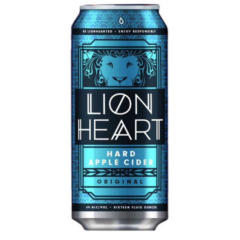lion heart hard apple cider can packaging