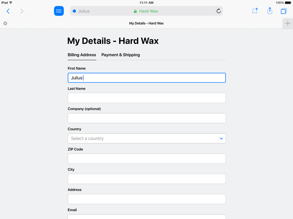 a contact form in focus view in refresh, a safari mockup