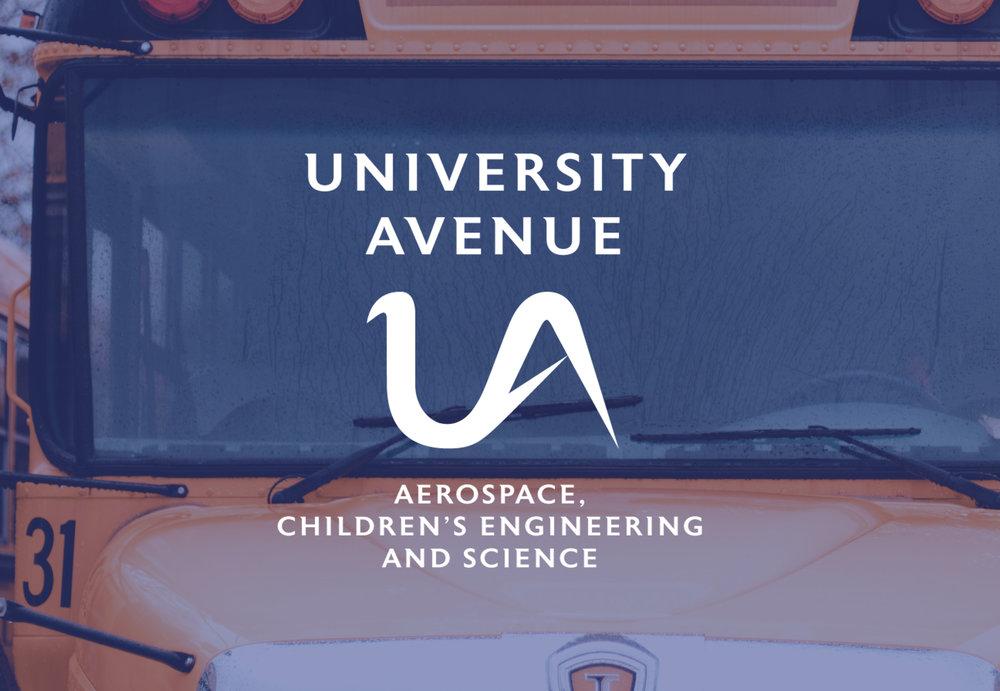 university avenue logo overlayed on school bus