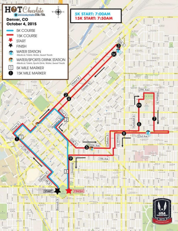 Hot Chocolate 15k and 5k Denver Map 2015