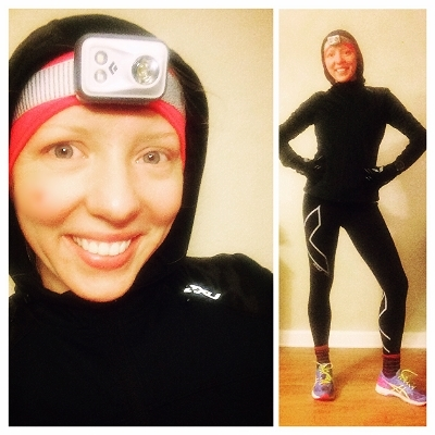 Multi-sport jacket, 2XU Thermal Tights, wool socks, and headlamp. Yep this is my running regular!