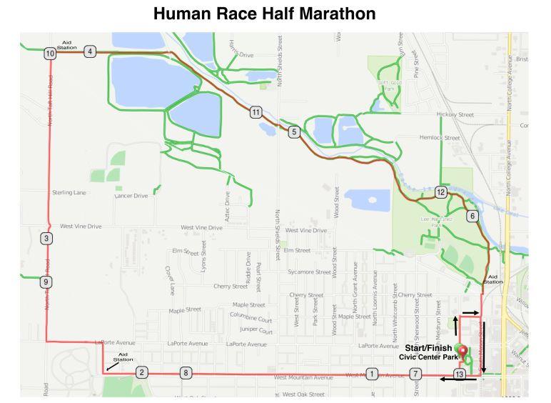 2016 Human Race Half Marathon Route
