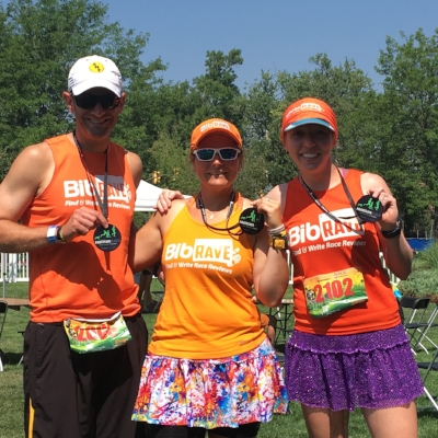 Josh the honorary bibRavepro, Angie and me with our shiny medals!