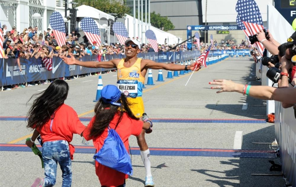 Meb at the Olympic Trials finish line. Photo Credit: rio2016.com