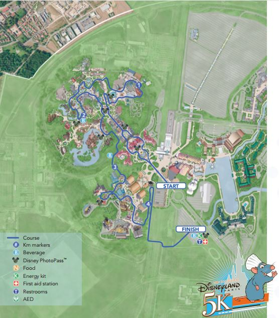 INAUGURAL DISNEYLAND PARIS 5k 2016 MAP