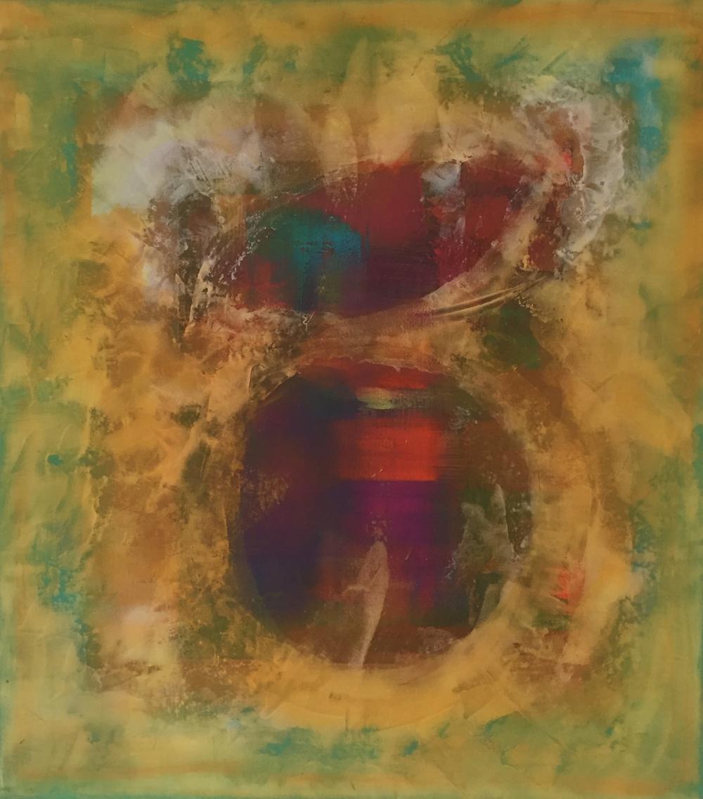 """Men & Wings"" (2015), acrylic on canvas, 48"" x 54"""
