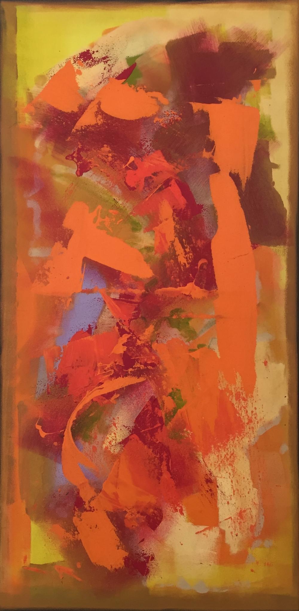 """The Amethyst Woodstar"" (2011), acrylic on canvas, 24"" x 38"""
