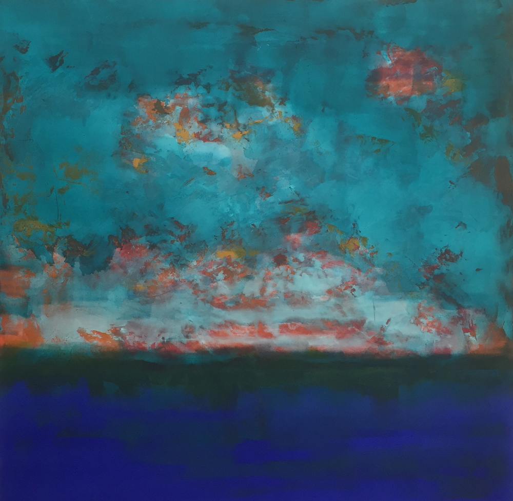 """""""Sea to Clouds"""" (2015), acrylic on canvas, 36"""" x 36"""""""
