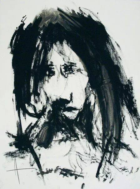 """Witness Series"" (2007), charcoal on paper, 32"" x 20"""