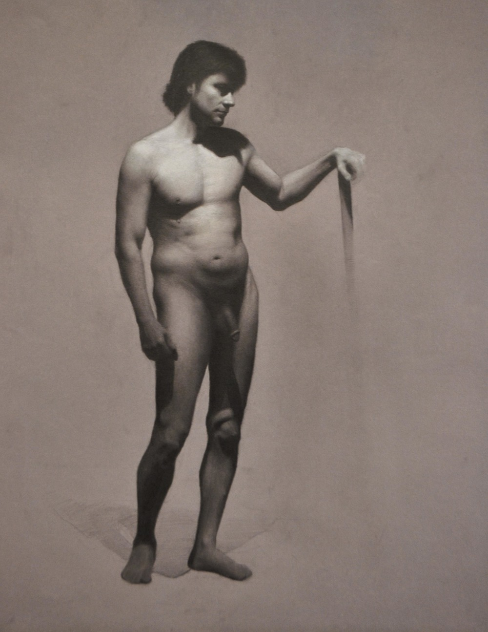 """Male Figure"" (2015), graphite and chalk on paper, 19"" x 24"""