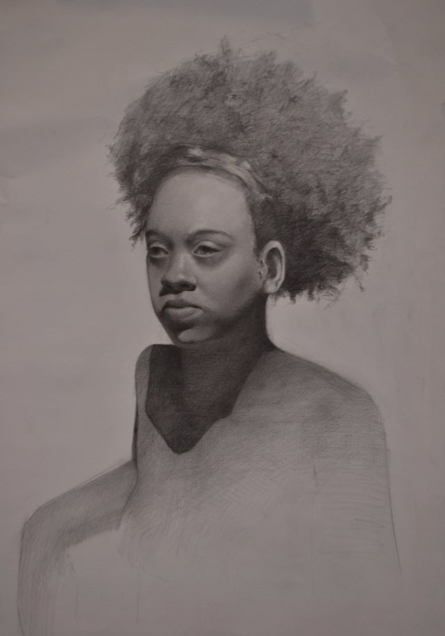 """Portrait of a Girl"" (2014), graphite on paper, 18"" x 24"""