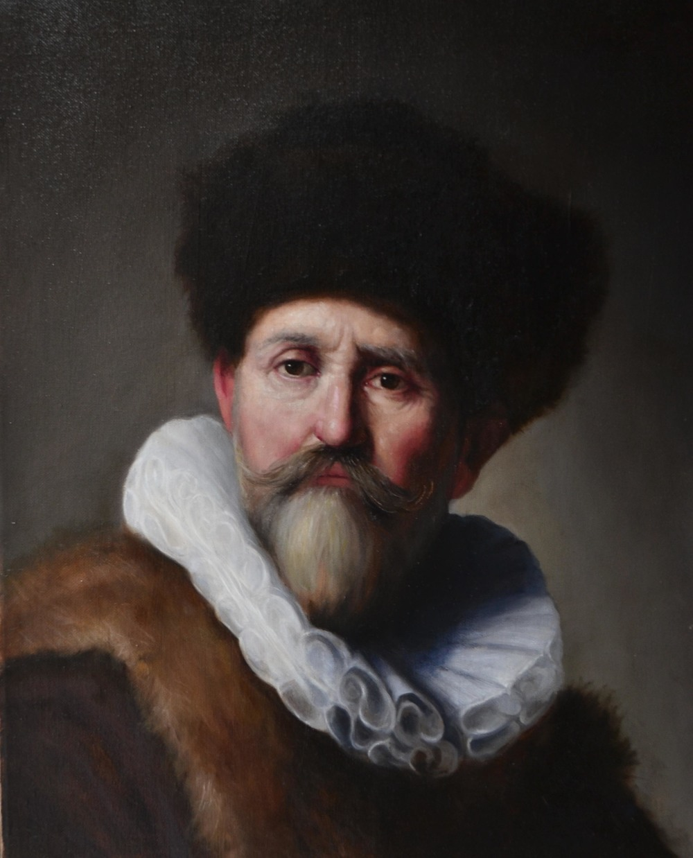 """Portrait of Nicolaes Ruts"" after Rembrandt (2015), oil on canvas, 16"" x 20"""