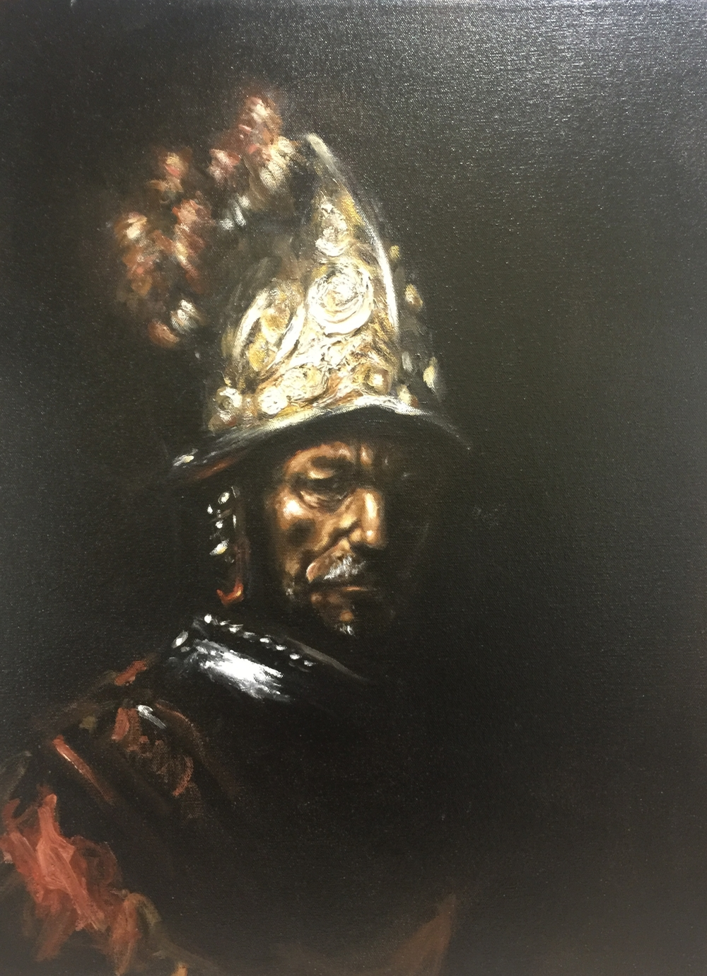 """The Man with the Golden Helmet"" after Rembrandt (2012), oil on canvas, 18"" x 24"""